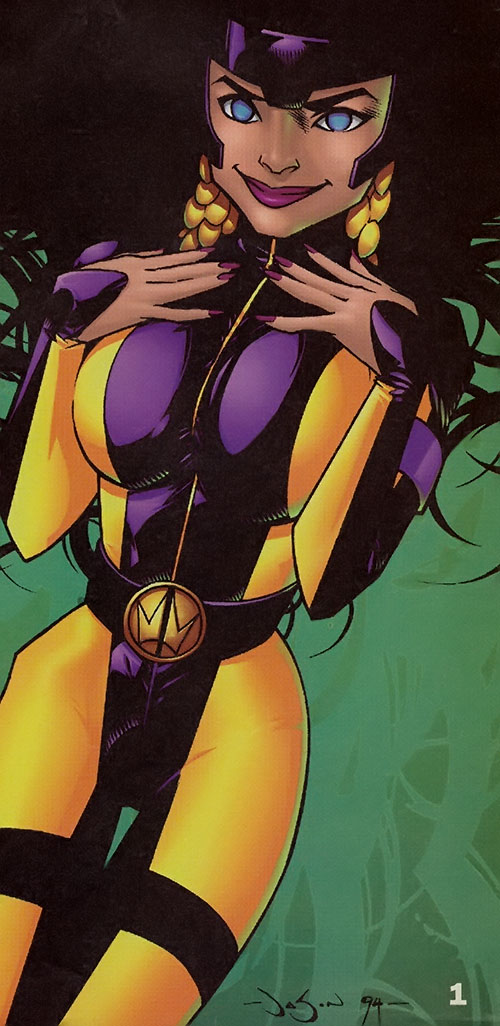 Voodoo of the WildCATs (Wildstorm Comics) in the yellow and purple costume
