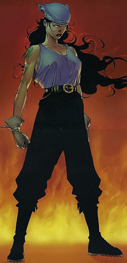 Voodoo of the WildCATs (Wildstorm Comics) in a bandanna and tank top