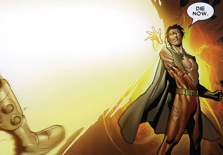 Vulcan (Gabriel Summers) fires a huge energy blast from his hand