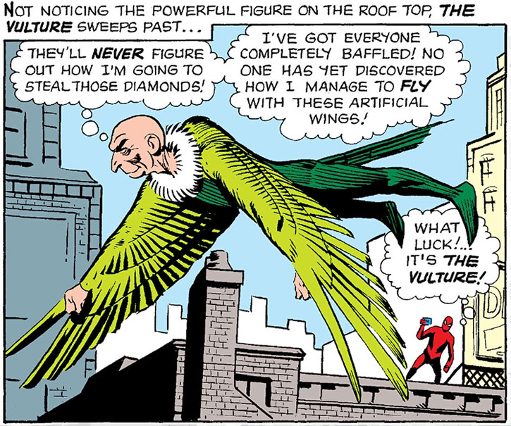 The Vulture is spotted by Spider-Man, by Steve Ditko