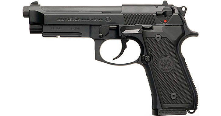 A Beretta 92 variant (specifically the military M9A1)