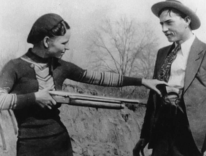 Bonnie Parker with her whippet gun, and Clyde Barrow.