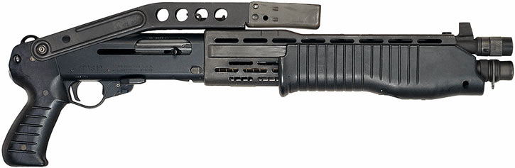 Franchi SPAS-12 shotgun with short barrel and folded stock