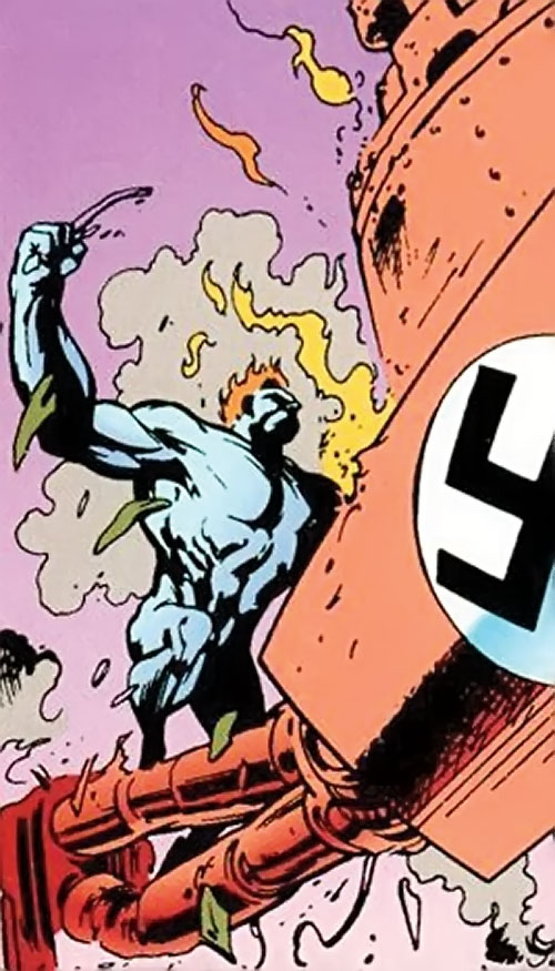 Wallop of Clan Destine (Marvel Comics) attacking a giant Nazi robot