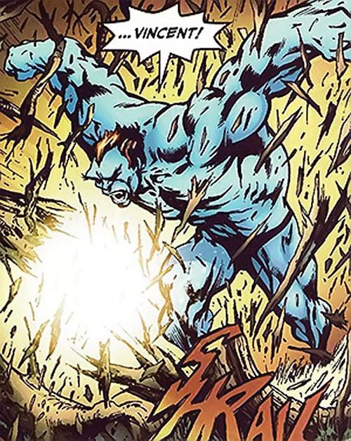 Wallop of Clan Destine (Marvel Comics) smashing trees into splinters
