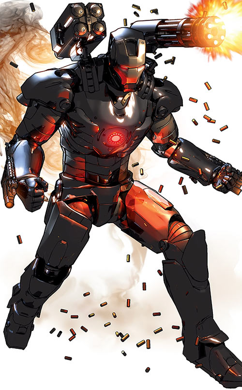 War Machine (James Rhodes) (Marvel Comics) firing a shoulder minigun