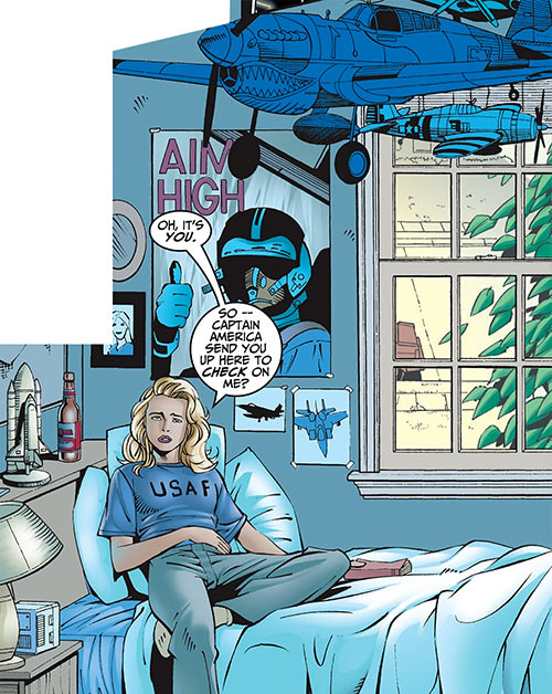 Warbird / Ms. Marvel (Carol Danvers) (Marvel Comics Avengers) in her old room