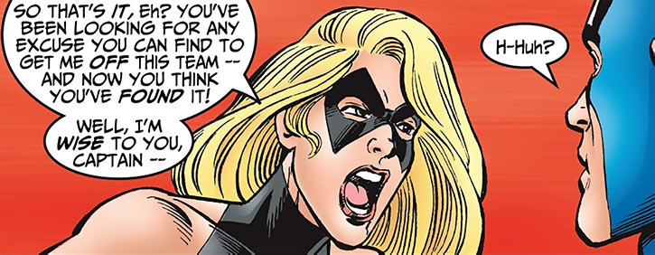 Warbird / Ms. Marvel (Carol Danvers) (Marvel Comics Avengers) shouting at Captain America