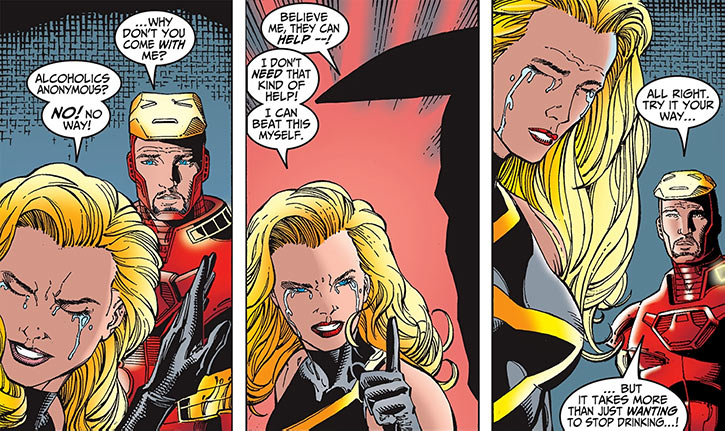 Warbird / Ms. Marvel (Carol Danvers) (Marvel Comics Avengers) crying Tony Stark