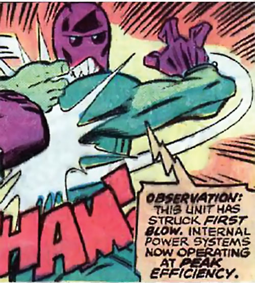 Warbot (Defenders enemy) (Marvel Comics) hits the Hulk
