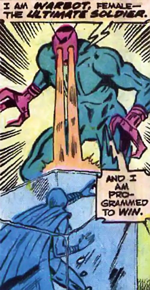 Warbot (Defenders enemy) (Marvel Comics) shooting eyebeams