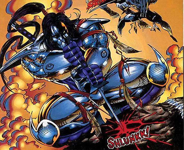 Warcry (Brigade character) (Image Comics) stabbing with a katana