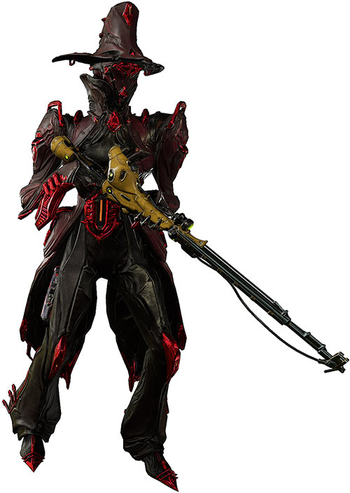 Limbo prime warframe with vulkar rifle