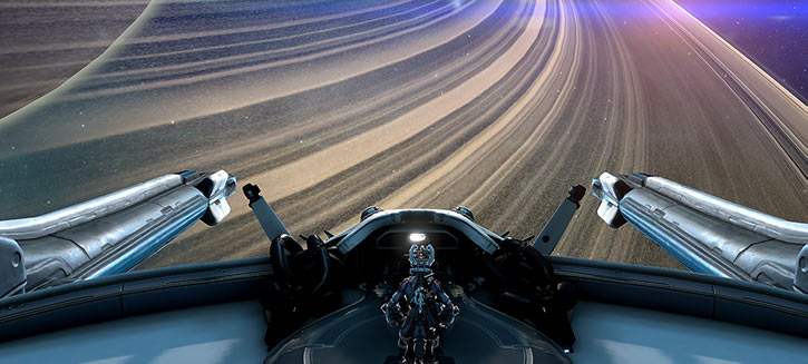 Warframe - Rail Junction over Saturn's rings