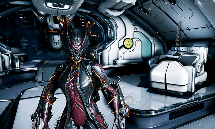 Warframe - Valkyr prime warframe in her Orbiter