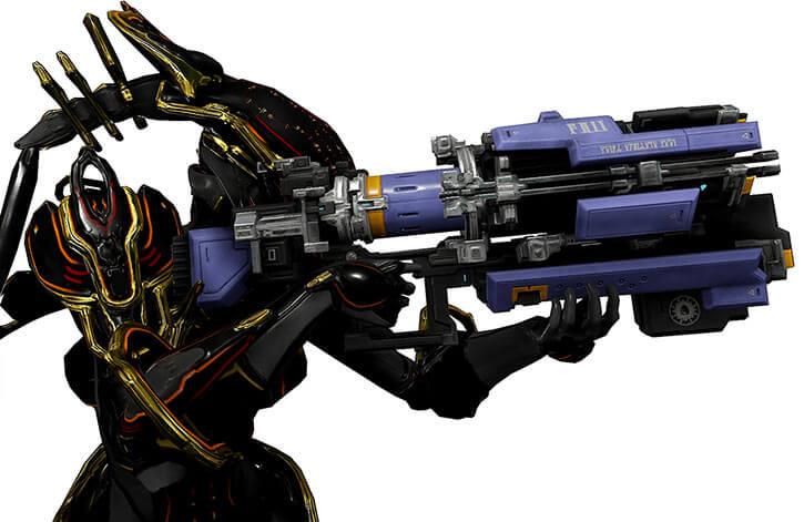 Warframe - Trinity aiming an arca plasmor