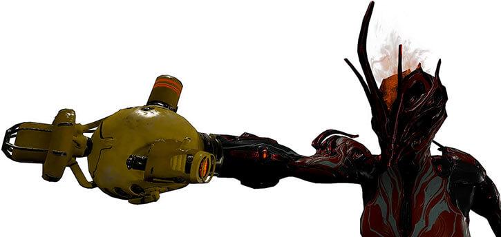 Warframe - Ember Prime brandishing an Atomos