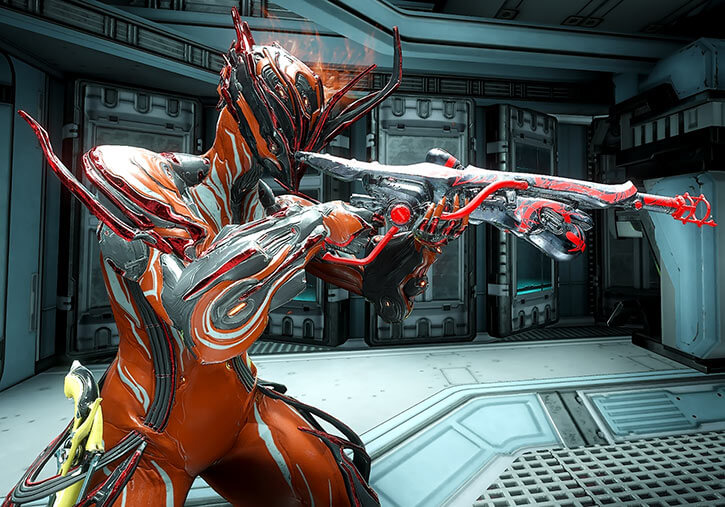 Ember Prime warframe with Ignis Wraith