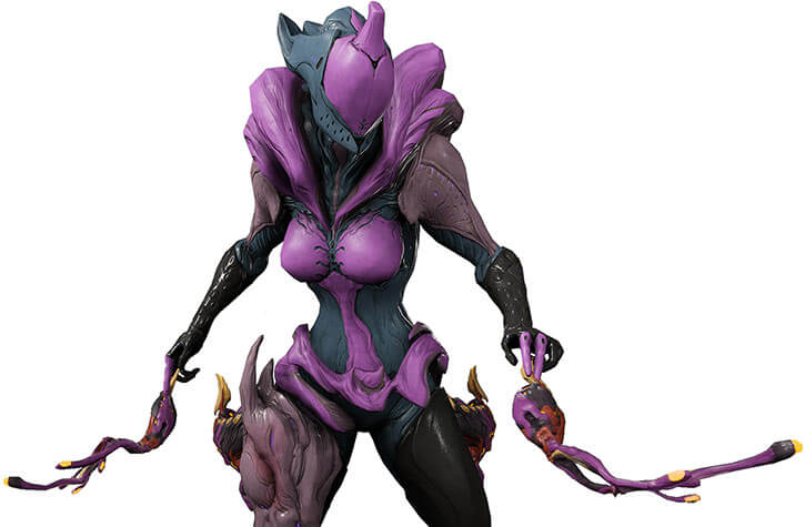 Saryn warframe with pox weapons