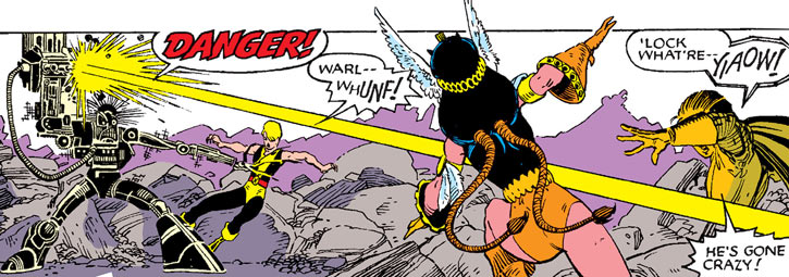 Warlock - Marvel Comics - New Mutants - Techno organic alien - shooting at Moonstar