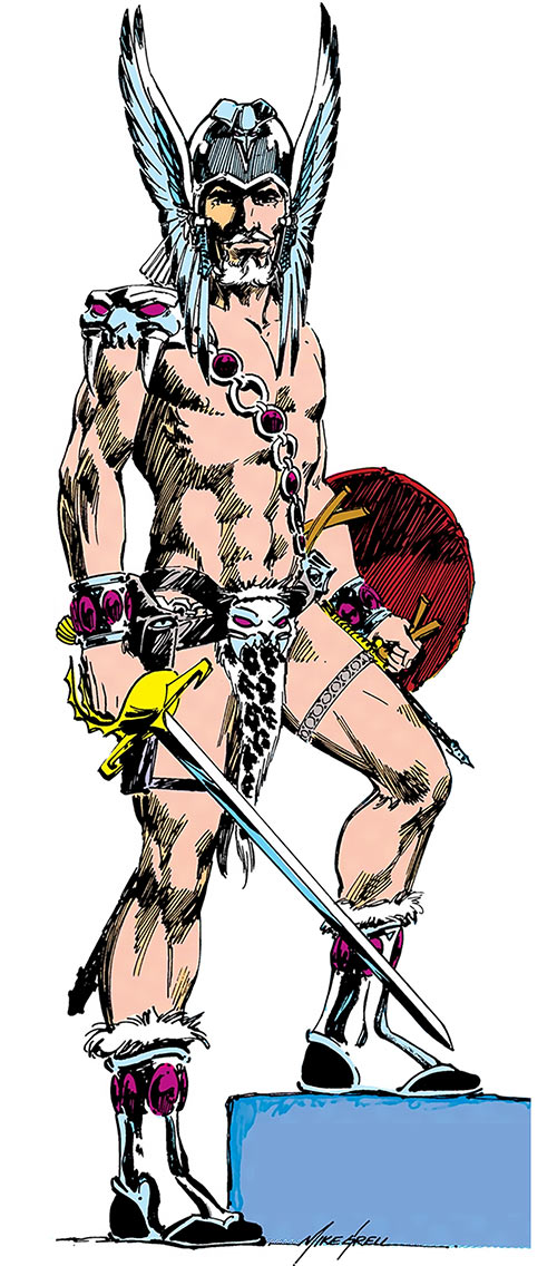 The Warlord (Travis Morgan) (DC Comics) over a white background