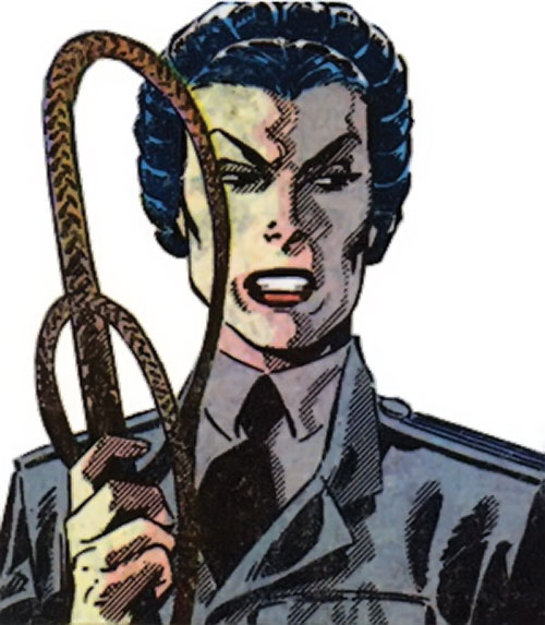 Warrior Woman (Captain America Invaders Nazi enemy) (Marvel Comics) in uniform with a whip