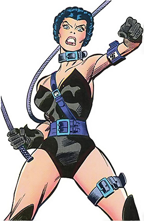 Warrior Woman (Captain America Invaders Nazi enemy) (Marvel Comics) readying her whip