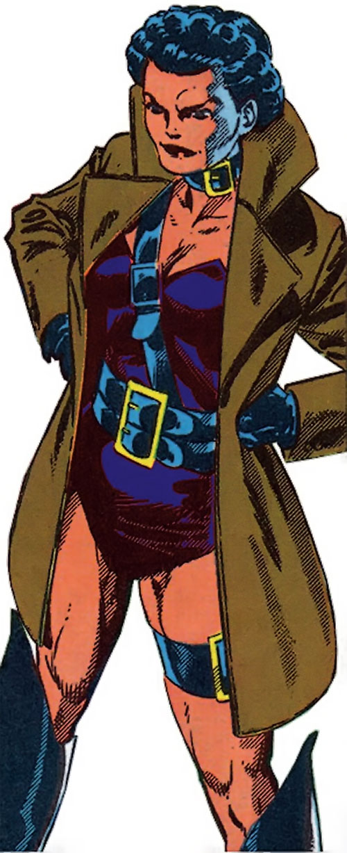 Warrior Woman (Captain America Invaders Nazi enemy) (Marvel Comics) with a brown coat