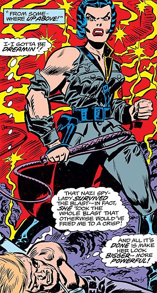 Warrior Woman (Captain America Invaders Nazi enemy) (Marvel Comics) in a damaged uniform