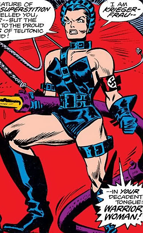 Warrior Woman (Captain America Invaders Nazi enemy) (Marvel Comics) with a hose