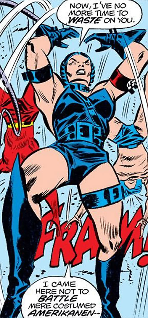Warrior Woman (Captain America Invaders Nazi enemy) (Marvel Comics) vs. the Torch and Toro
