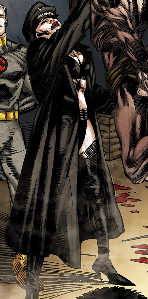 Warrior Woman (Captain America Invaders Nazi enemy) (Marvel Comics) with a black trench coat