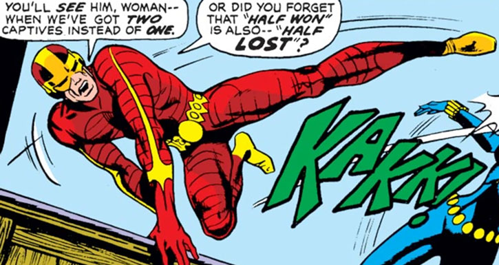 Comic book henchman in red and yellow costume