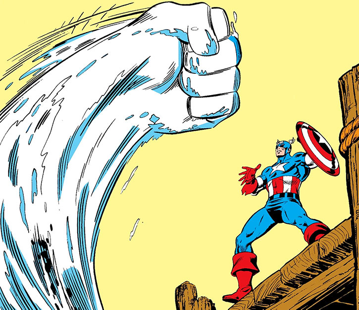 Water Wizard (Peter van Zante) manifests a giant watery fist against Captain America