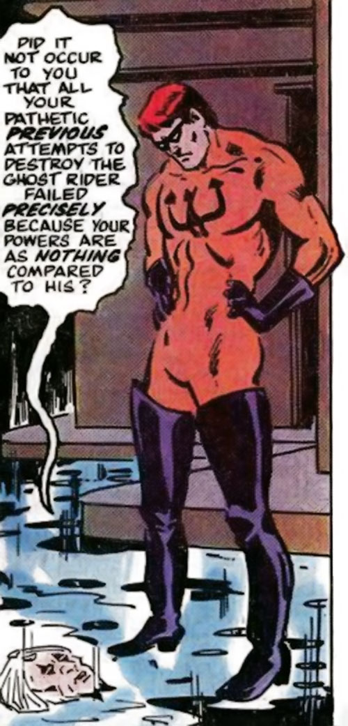 Water Wizard (Marvel Comics) discussing with a puddle
