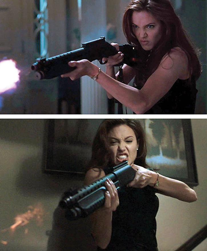 Angelina Jolie firing a shotgun
