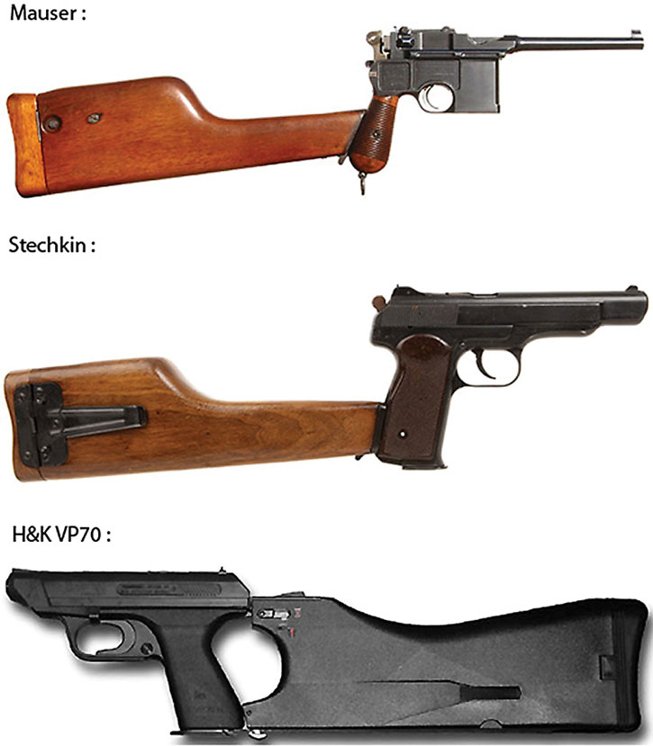 Burst-capable pistols with removable stocks