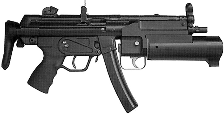MP5 SMG with grenade launcher