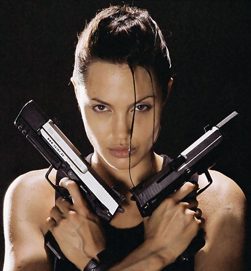 Angelina Jolie with paired pistols
