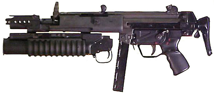 MP5 SMG with a M203 grenade launcher
