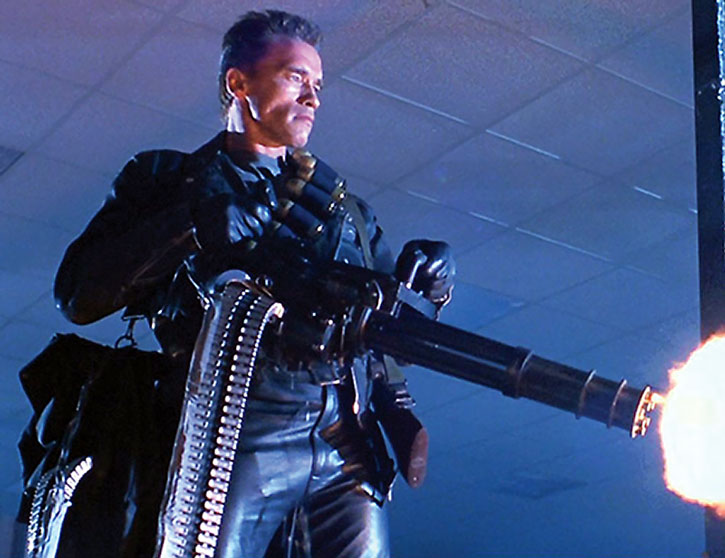 The Terminator firing a minigun