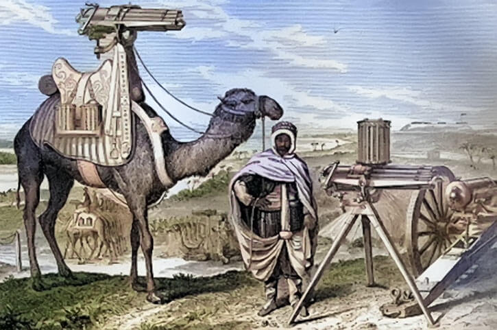 Mounted Gatling guns, including one on a camel