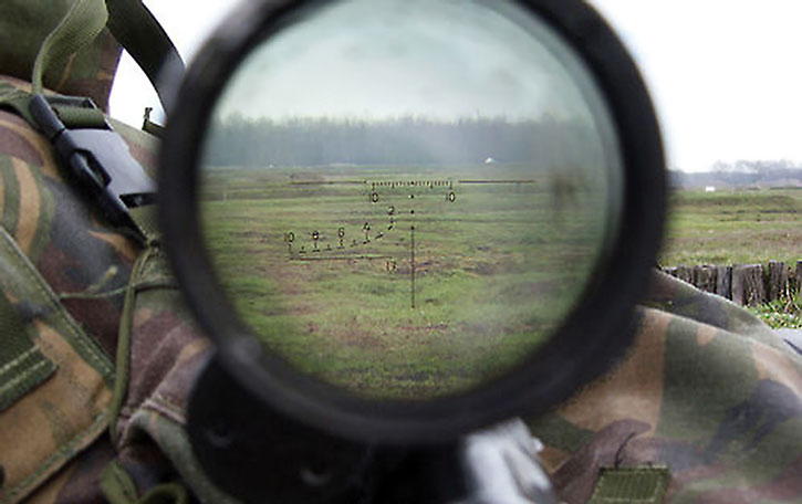 Peering through a sniper sight