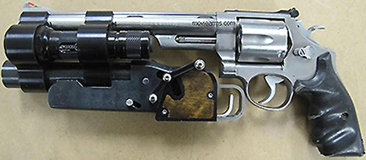 Big revolver with grenade launcher