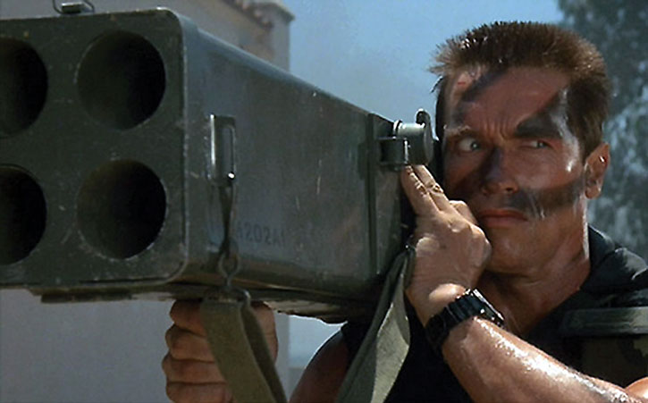 Arnold Schwarzenegger with a rocket launcher in Commando