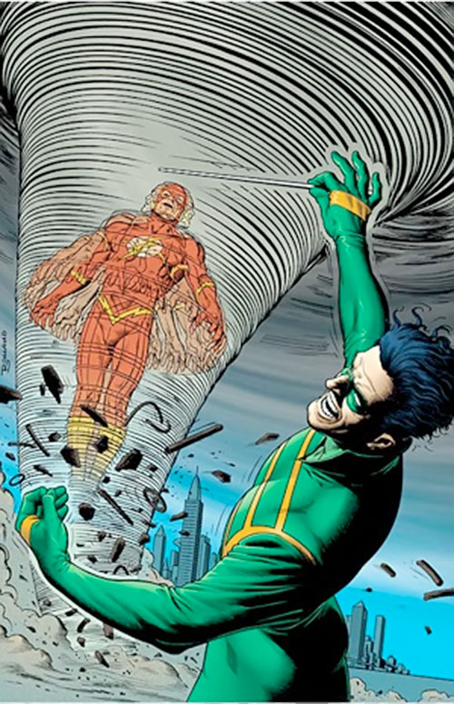 Weather Wizard (Flash enemy) (DC Comics) catches the Flash in a twister