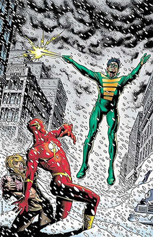 Weather Wizard (Flash enemy) (DC Comics) summoning a snowstorm