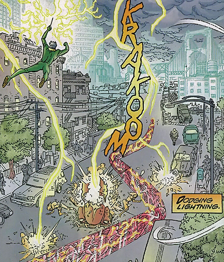 The Weather Wizard tries to hit Flash with lightning bolts