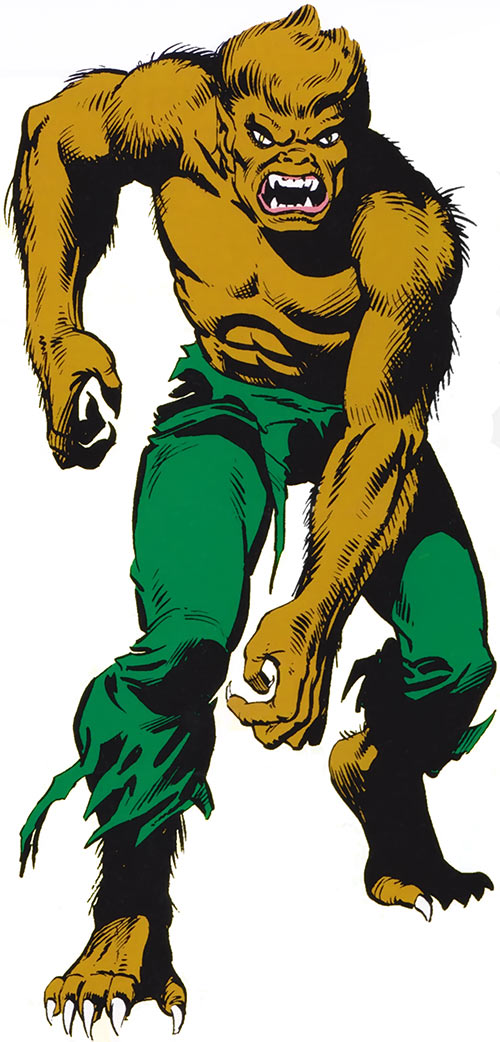 Werewolf by Night (Russell) from the 1983 Marvel Comics handbook