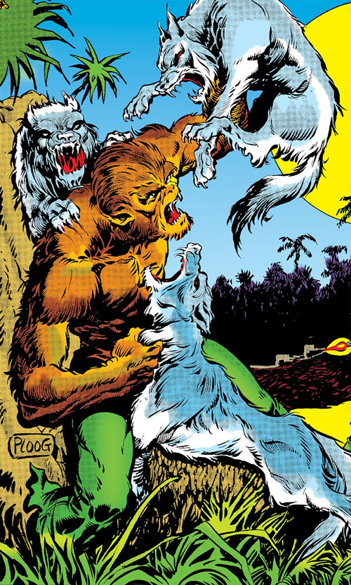 Werewolf by Night (Early) (Marvel Comics) fighting white wolves